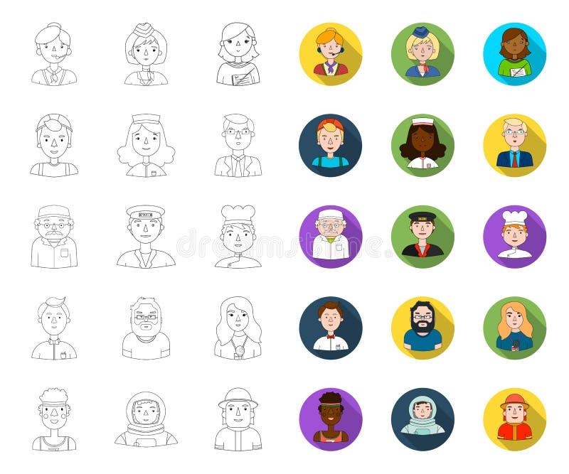 Folk av den olika yrkeöversikten, plana symboler i den fastställda samlingen för design Arbetar- och specialistvektorsymbol royaltyfri illustrationer