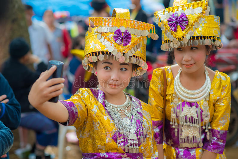 Folk av Luang Prabang arkivfoton