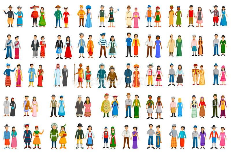 Folk av olika länder i traditionell dräkt stock illustrationer