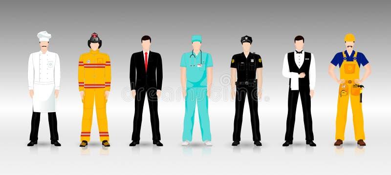 Folk av olika yrken i funktionsduglig kläder stock illustrationer