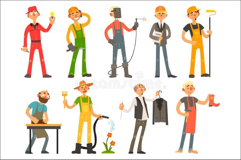 Folk av olika yrken och ockupationer i arbetande dräkt Elektriker byggmästare, welder, arkitekt, kindtand vektor illustrationer