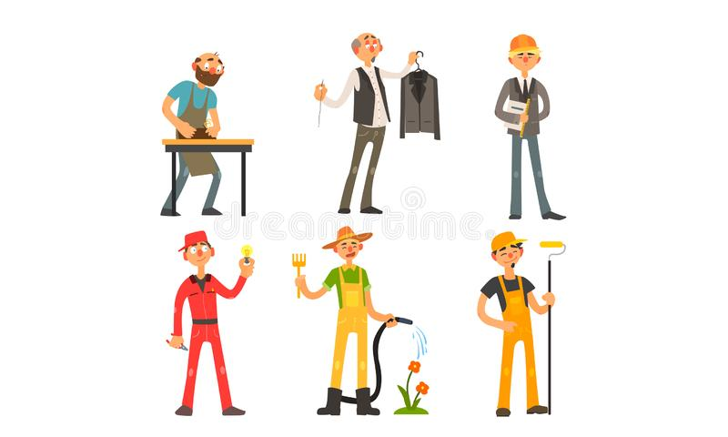 Folk av olika yrken, snickare, skräddare, arkitekt, ordförande, elektriker, trädgårdsmästare, målare Vector vektor illustrationer