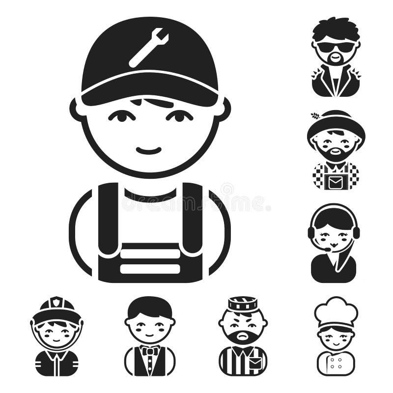 Folk av svarta symboler för olika yrken i uppsättningsamlingen för design Rengöringsduk för materiel för arbetar- och specialistv vektor illustrationer