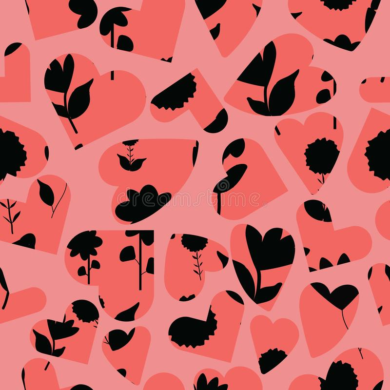 Folk black flowers on coral background with hearts overlay seameless repeat. vector illustration