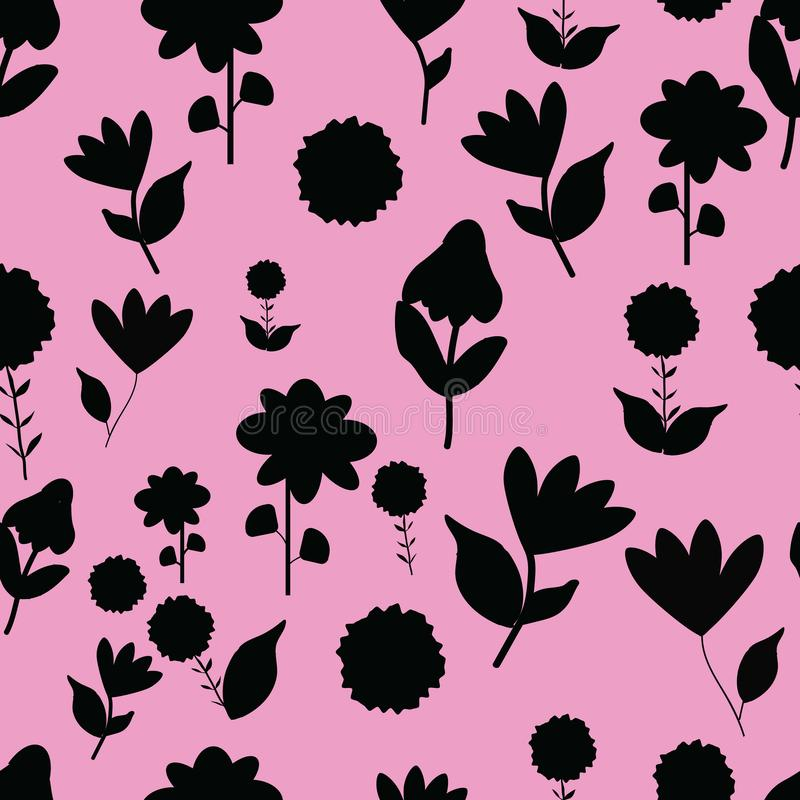 Folk black flowers on pink background seameless repeat. royalty free illustration