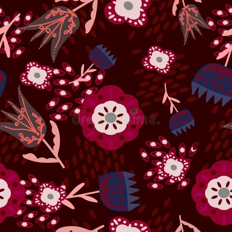 Folk blom- prydnader på ett mörkt - röd färg vektor illustrationer