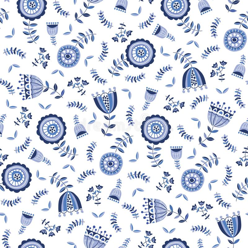 Folk Blue Flowers on White Background Vector Seamless Pattern. Delft Florals. Hand-drawn doodle monochrome flora. Folk Blue Flowers White Background Vector stock illustration