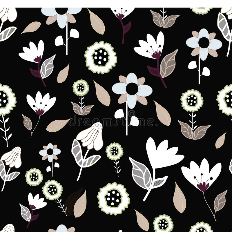 Folk bruna blåa och vita blommor på seameless repetition för svart bakgrund royaltyfri illustrationer
