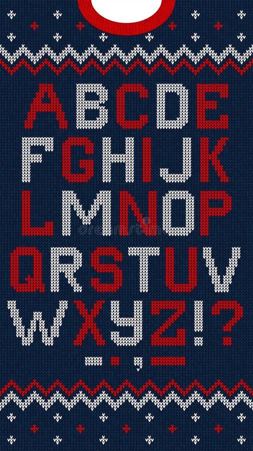 Folk Christmas Font Scandinavian style knitted letters alphabet seamless pattern royalty free illustration