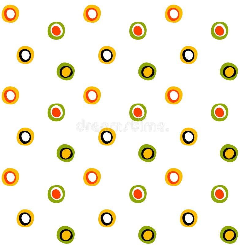 Folk cirkel- och fläckmodell för sömlös yttersida vektor illustrationer
