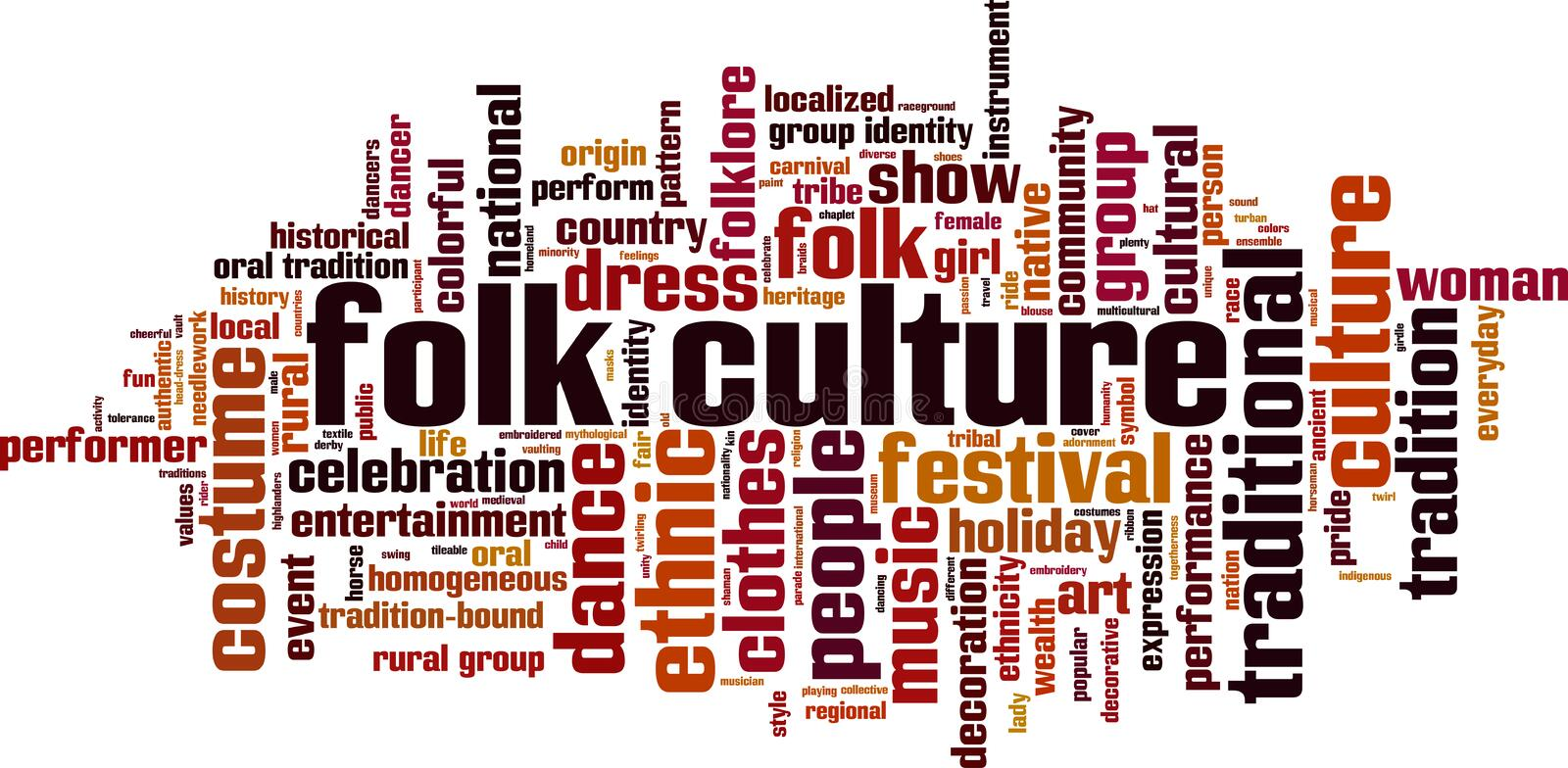 Folk culture word cloud. Concept. Vector illustration vector illustration
