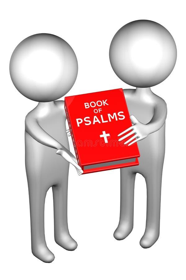 folk 3d med boken av psalmer stock illustrationer