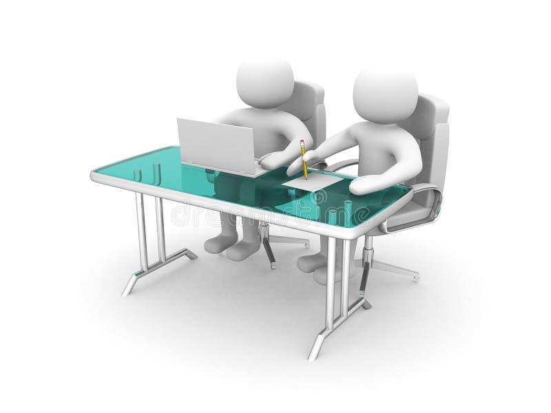 folk 3d och en bärbar dator på ett kontor. Affärspartners royaltyfri illustrationer