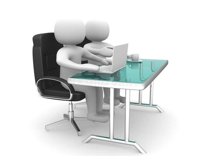 folk 3d och en bärbar dator på ett kontor. Affärspartners. vektor illustrationer