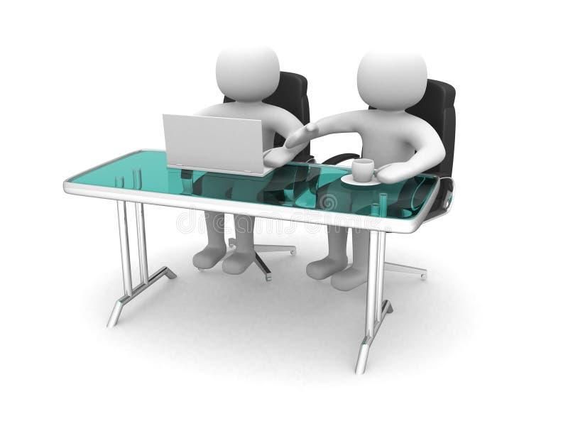 folk 3d och en bärbar dator på ett kontor. Affärspartners stock illustrationer