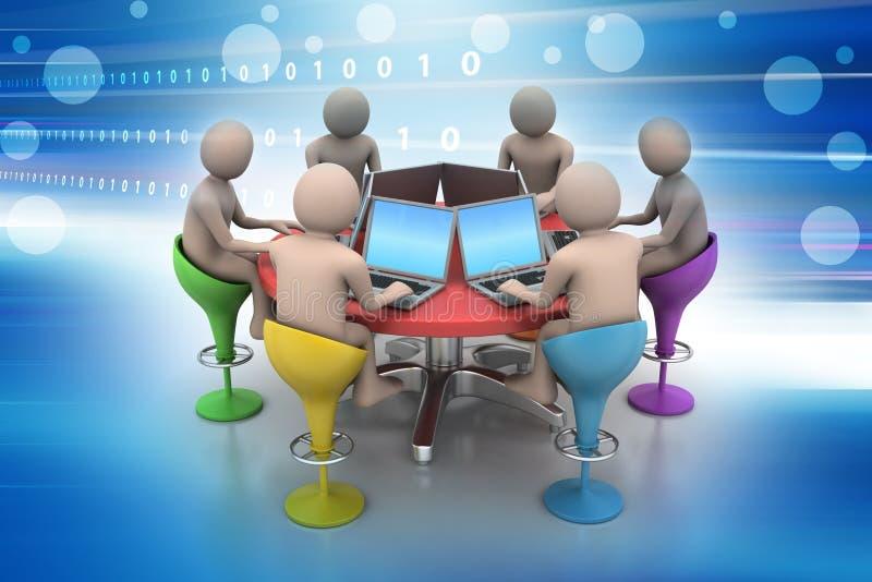 folk 3d runt om en tabell som ser bärbara datorer royaltyfri illustrationer