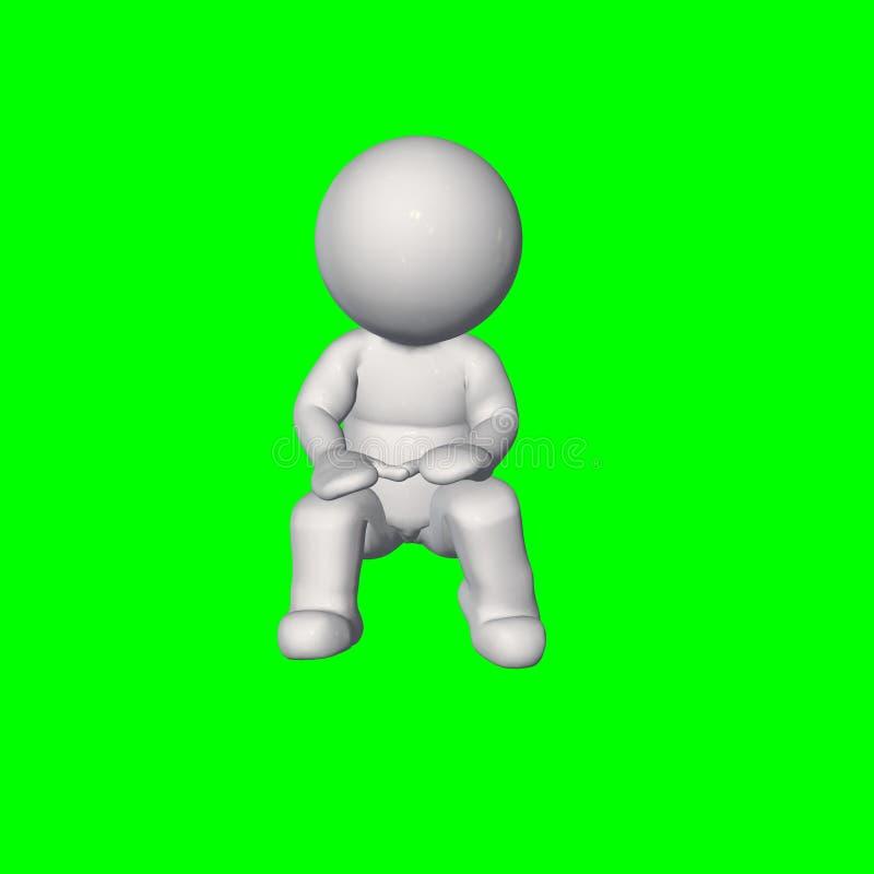 folk 3D - sitt samtal 2 - grön skärm royaltyfri illustrationer