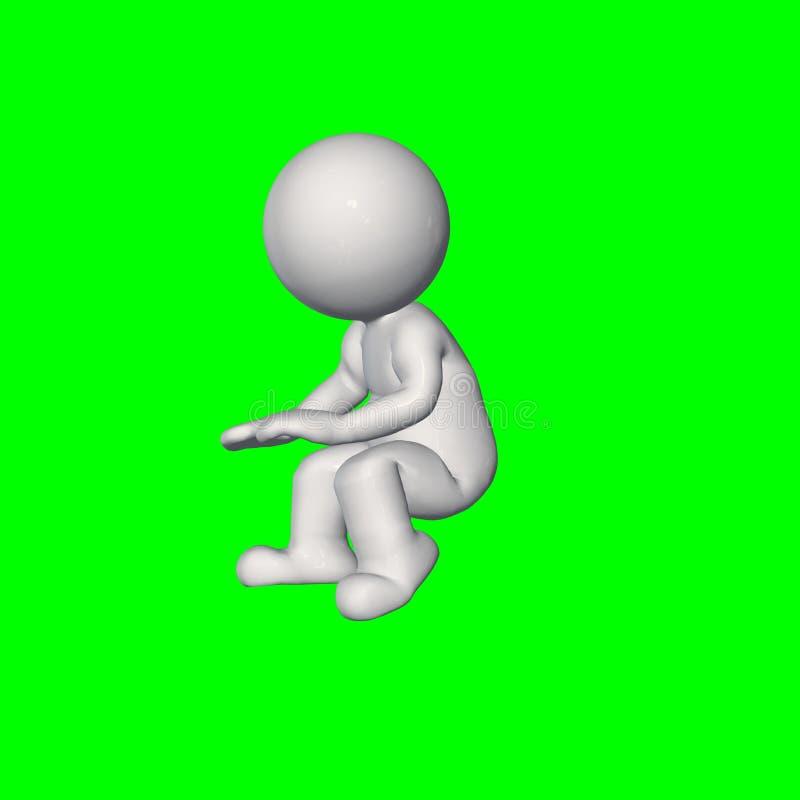 folk 3D - sitt samtal 3 - grön skärm vektor illustrationer
