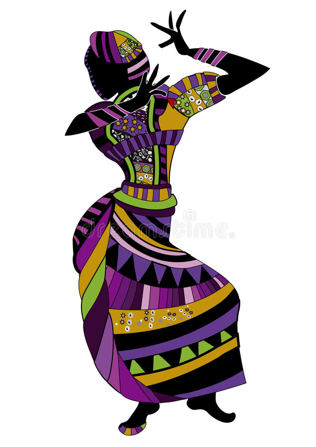Folk dance. Ethnic woman dance for you folk dance on a white background stock illustration