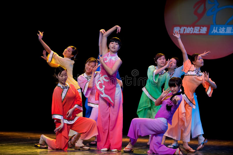 Folk Dance: Han girl play. In June 2, 2010, Jiangxi Vocational Academy of Art Department of dance students celebrate International Children's Day six one stock images