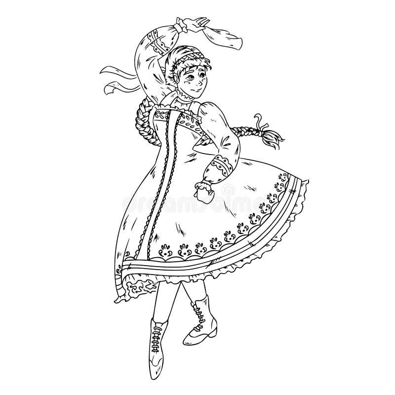 Folk dance performed by Ukrainian, Russian, Belorussian girl in national costume. Hand drawn sketch. Vector. Folk dance performed by Ukrainian, Russian stock illustration