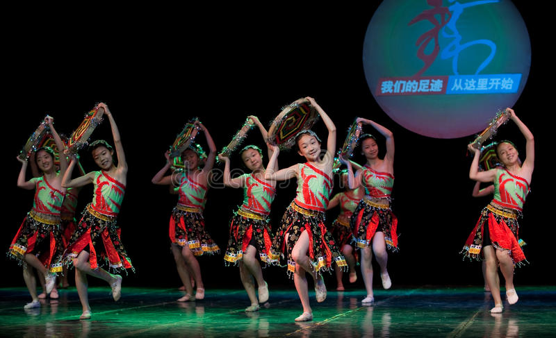 Folk Dance: Tujia girls. In June 2, 2010, Jiangxi Vocational Academy of Art Department of dance students celebrate International Children's Day six one royalty free stock photos