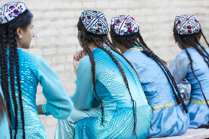Folk dancers performs traditional dance at local festivals in Khiva, Uzbeksitan. royalty free stock images