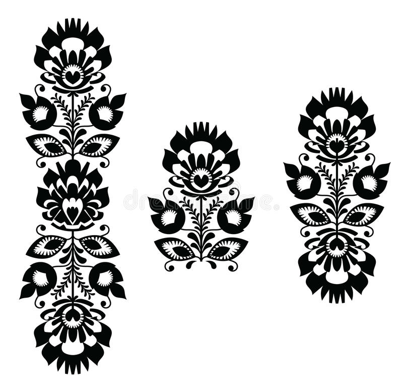 Folk embroidery - floral traditional polish pattern in black and white vector illustration