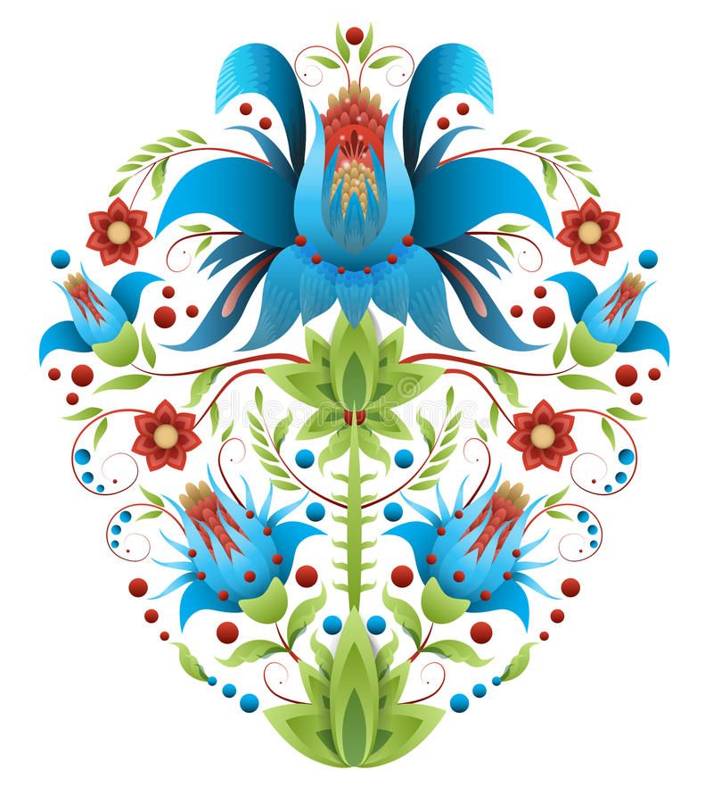 Folk embroidery with flowers - traditional ethnic pattern vector illustration
