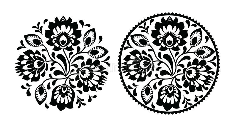 Folk embroidery with flowers - traditional polish round pattern in monochrome. Decorative traditional vector black pattern set - paper catouts style isolated on vector illustration