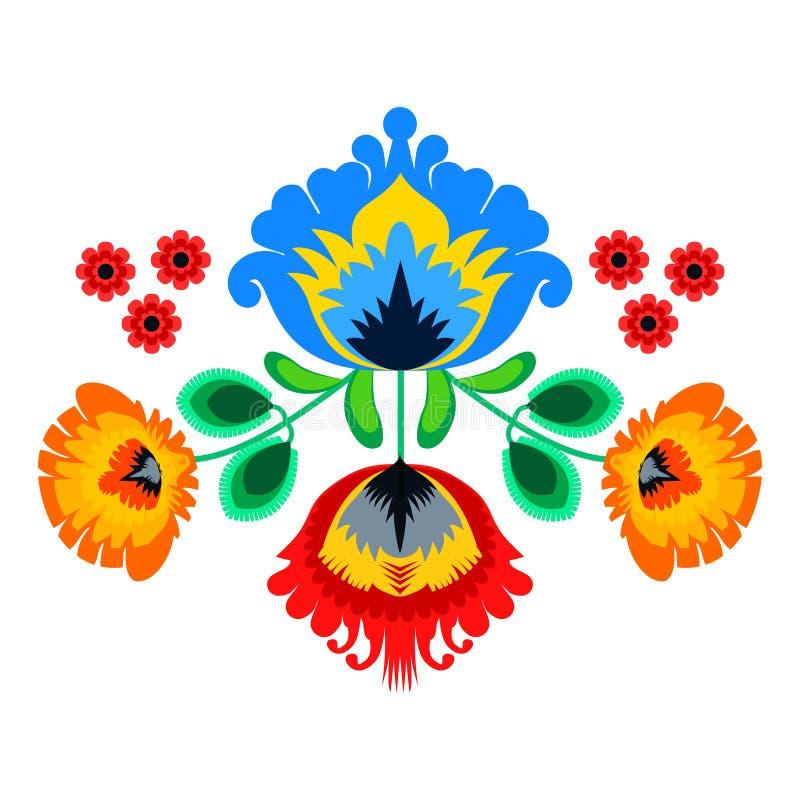 Folk embroidery ornament with flowers. Traditional authentic polish pattern decoration - wycinanka, Wzory Lowickie stock illustration