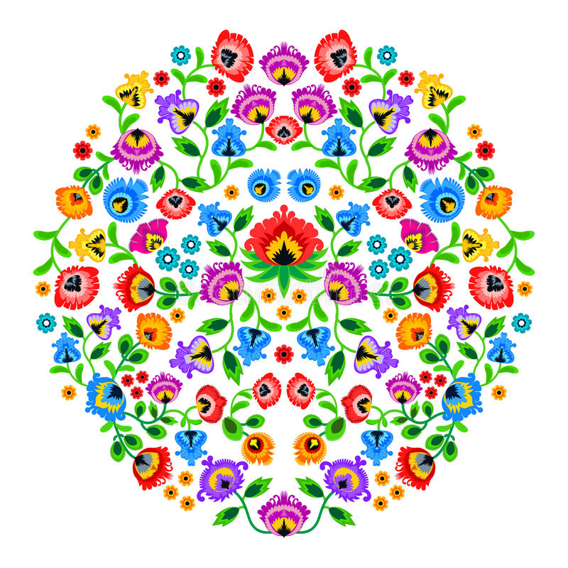 Folk embroidery ornament with flowers. Traditional authentic polish pattern decoration - wycinanka, Wzory Lowickie vector illustration