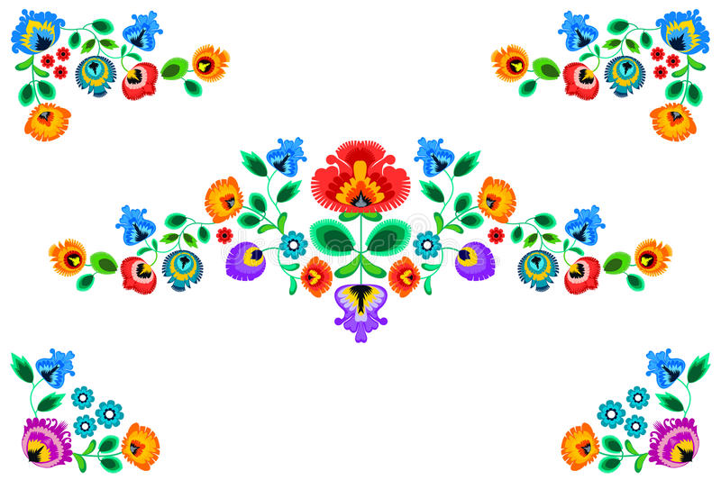 Folk embroidery ornament with flowers. Traditional polish pattern decoration - wycinanka, Wzory Lowickie vector illustration