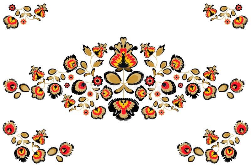Folk embroidery ornament with flowers. Traditional polish pattern decoration - wycinanka, Wzory Lowickie royalty free illustration