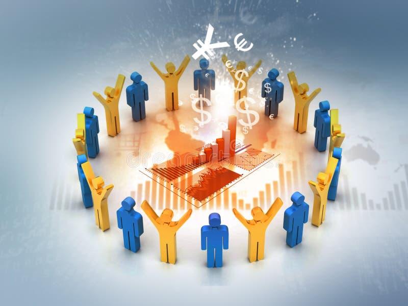 folk för affär som 3d analyserar diagrammet stock illustrationer