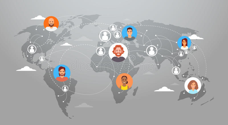 Folk för anslutning för nätverk för internet för begrepp för samkvämMedia Communication världskarta vektor illustrationer