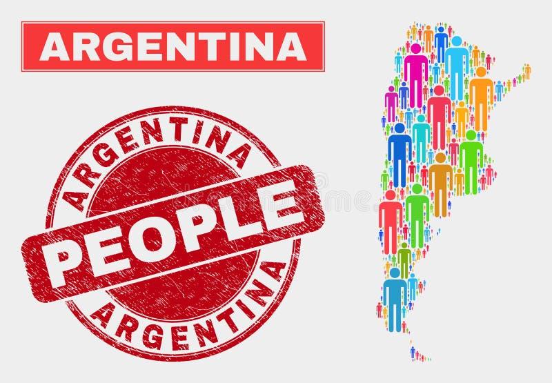 Folk för Argentina översiktsbefolkning och Grungevattenstämpel stock illustrationer