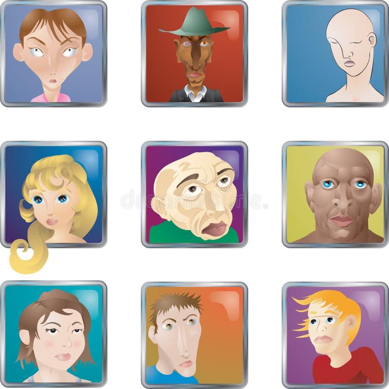folk för avatarsframsidasymboler royaltyfri illustrationer