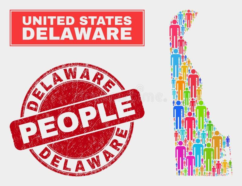 Folk för befolkning för Delaware statöversikt och texturerad skyddsremsa stock illustrationer