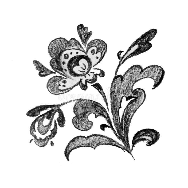 Folk för blomma för blyertspennamodell blom- traditionellt stock illustrationer