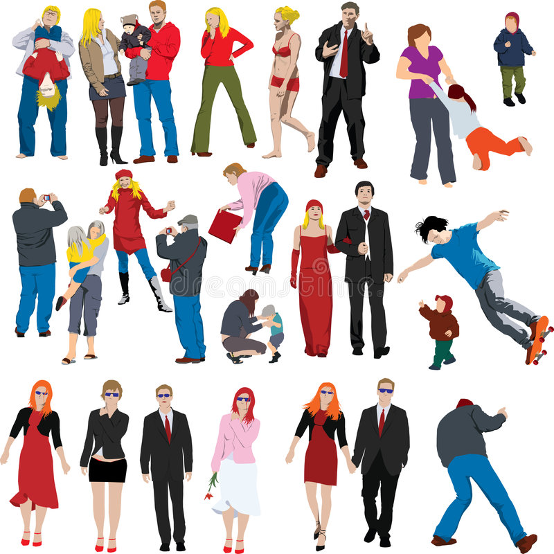 folk för färgillustratlott vektor illustrationer