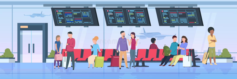 Folk för flygplatsterminal Handelsresande som sitter att vänta med bagagetecknad filmpassagerare på semester Plan illustration vektor illustrationer