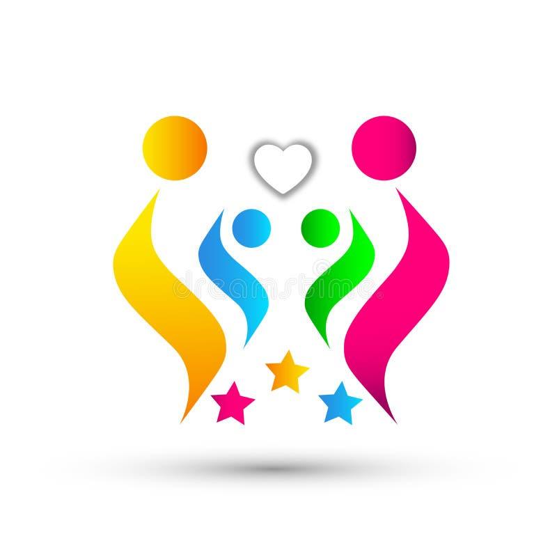Folk för hjärta för förälskelse för familjomsorg som fackligt firar logosymbolen på vit bakgrund stock illustrationer