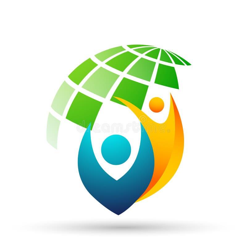 Folk för jordkloträddningvärld som tar hälsovård för att spara för att skydda vektorn för beståndsdel för familjlogosymbol på vit stock illustrationer