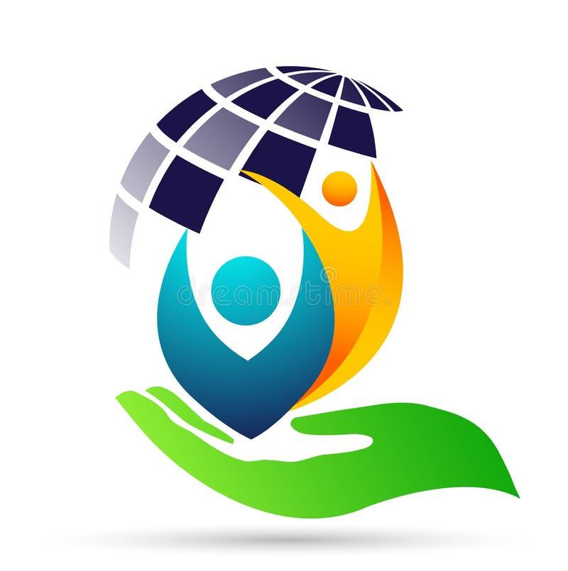 Folk för jordkloträddningvärld som tar hälsovård för att spara för att skydda vektorn för beståndsdel för familjlogosymbol på vit vektor illustrationer