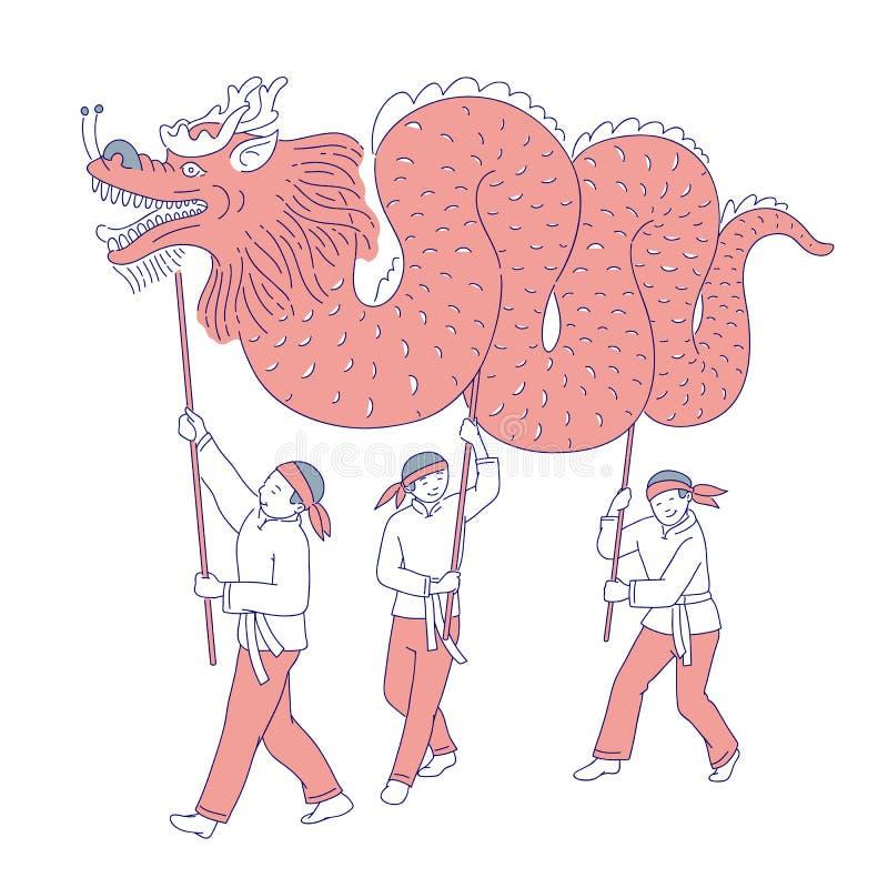 Folk för nytt år för kinesisk karnevaldrake mån- i traditionell dräkt Vektorlinje konstferiegarnering nationellt royaltyfri illustrationer