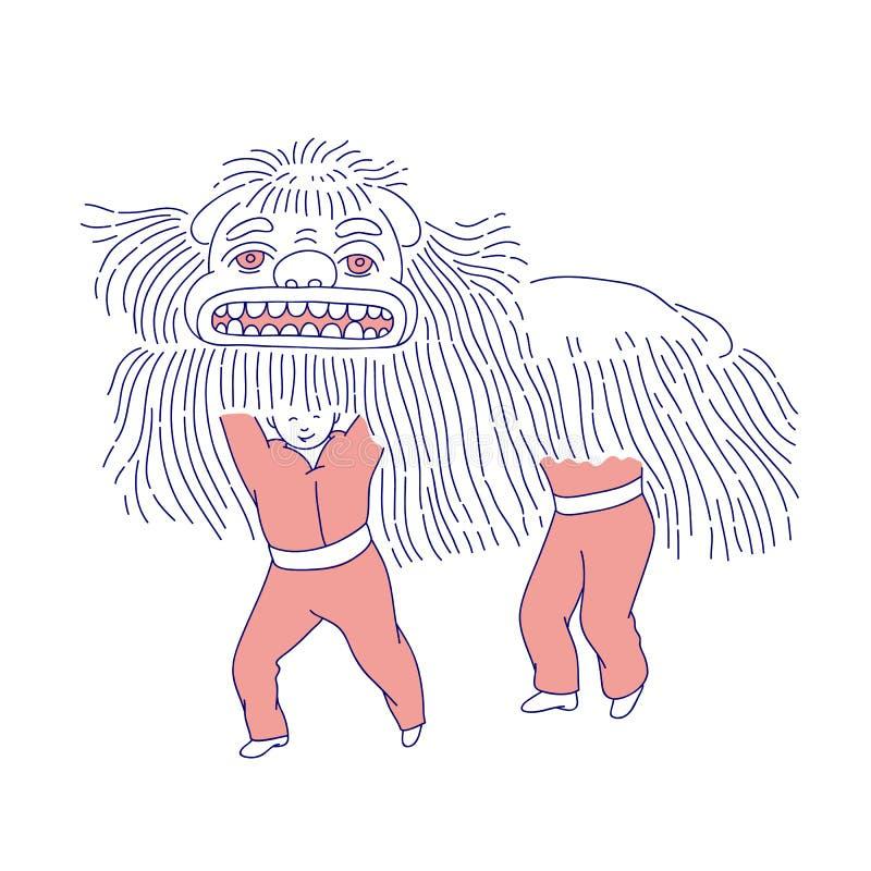 Folk för nytt år för kinesiskt lejon mån- gigantiskt i traditionell dräkt Vektorlinje konstferiegarnering nationellt royaltyfri illustrationer