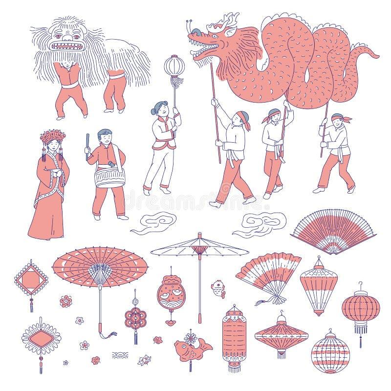 Folk för nytt år för symboler kinesiskt i traditionella dräkter Vektorlinje amuletter för konstuppsättninglyktor för feriehem royaltyfri illustrationer