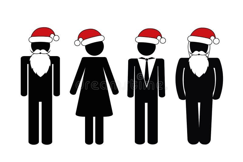 Folk för pictogram för julparti stock illustrationer