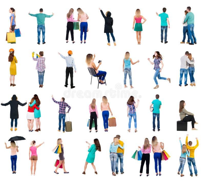 Folk för samlingsbaksidasikt arkivfoton
